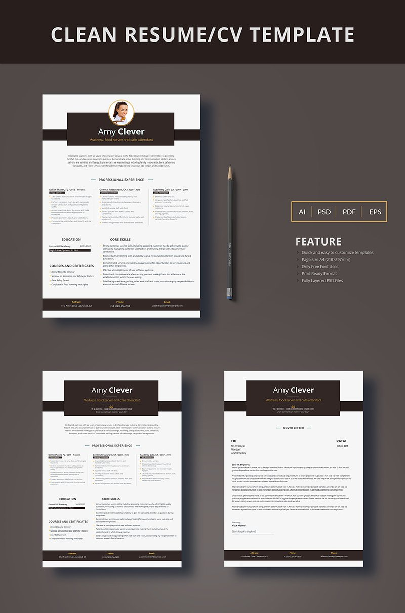 "Plantilla De CV ""Amy Clever - Waitress, Food Server and Cafe Attendant"" #66445"