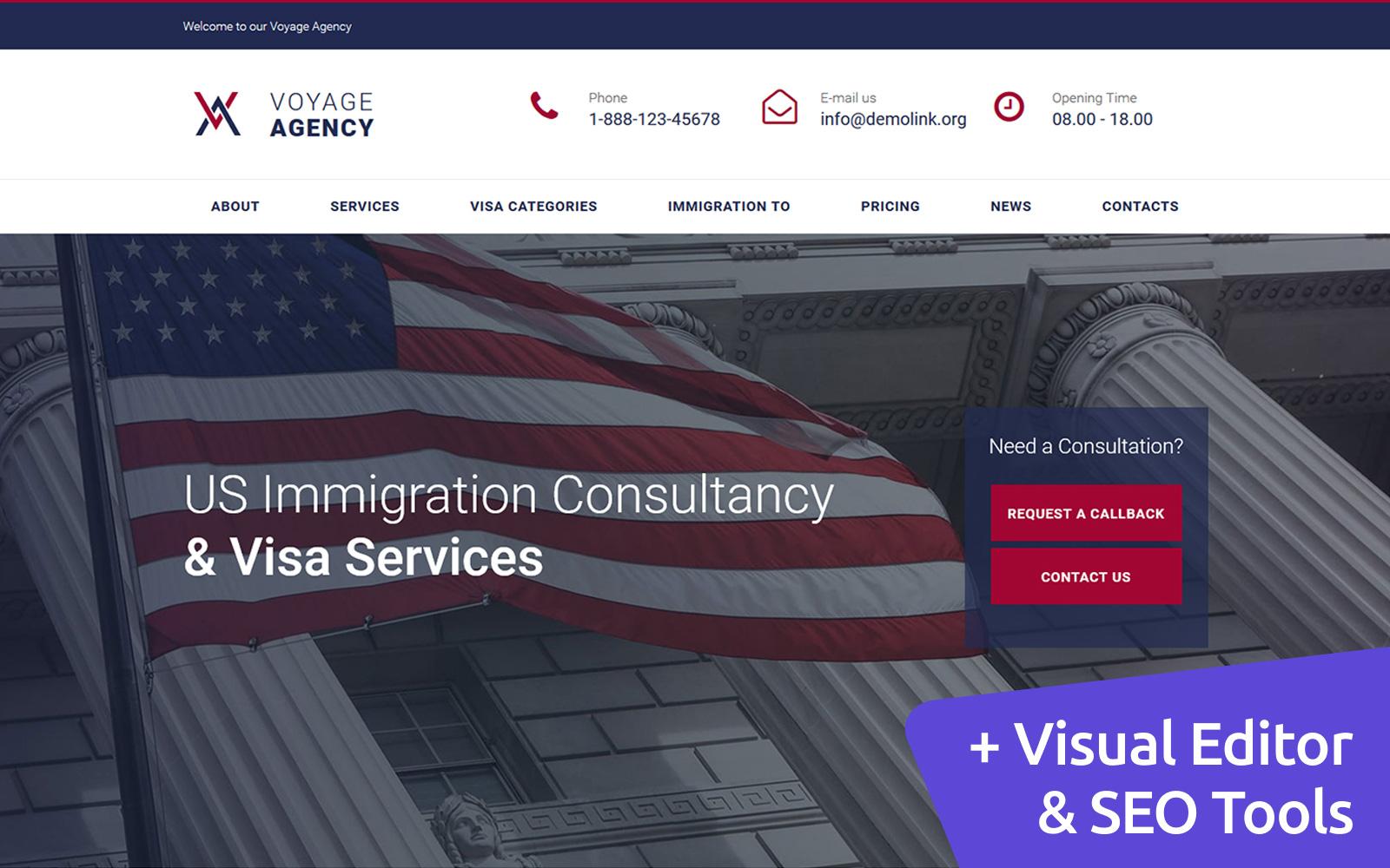 "Plantilla Moto CMS 3 ""Voyage Agency - Immigration Consulting"" #66409"