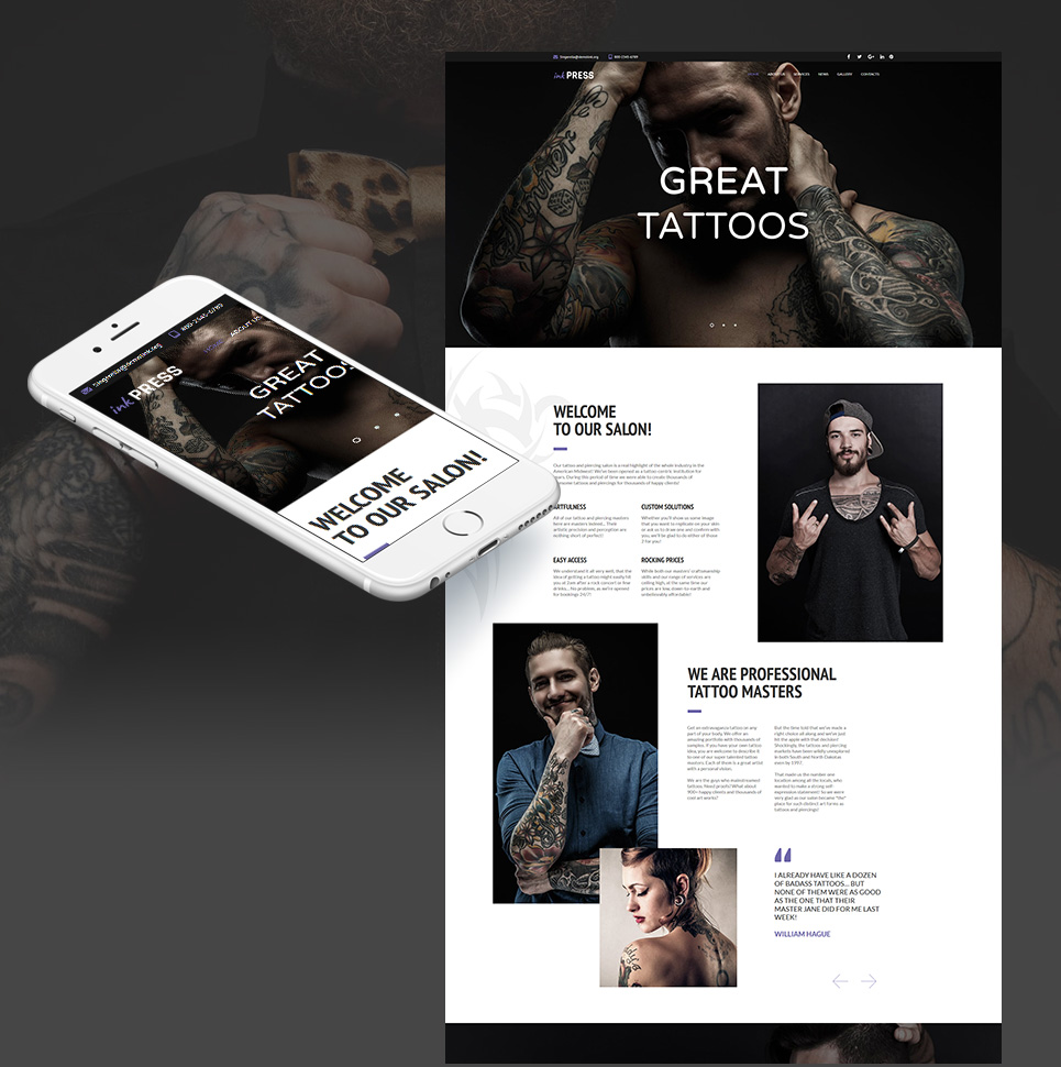 Plantilla Moto CMS HTML #66420 para Sitio de Salones de tatuaje
