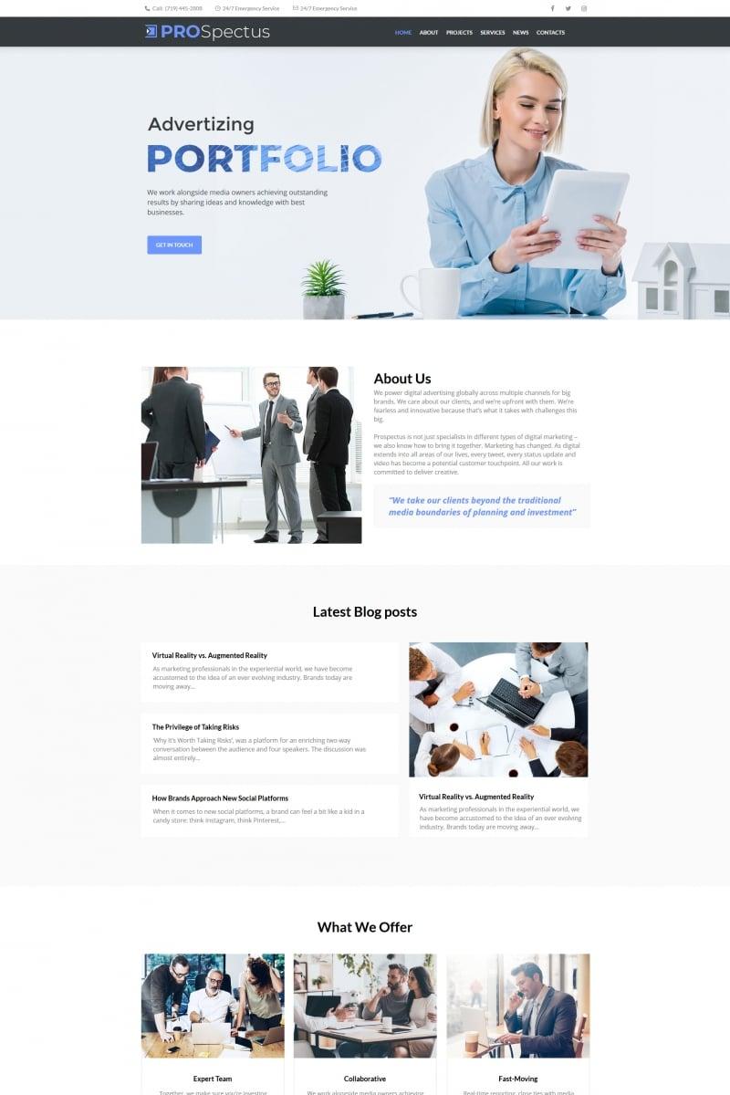 "Plantilla Moto CMS HTML ""Pro Spectus - Advertising Portfolio"" #66429"