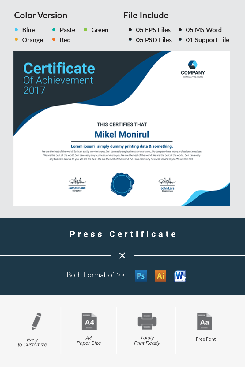 Press Certificate Template - screenshot