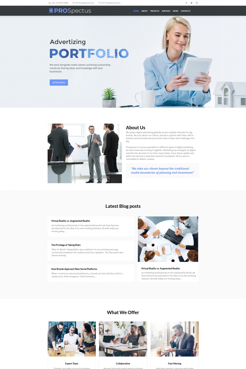 """Pro Spectus - Advertising Portfolio"" Moto CMS HTML Template №66429"