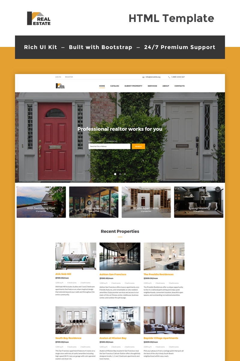 real estate bootstrap html template. Black Bedroom Furniture Sets. Home Design Ideas