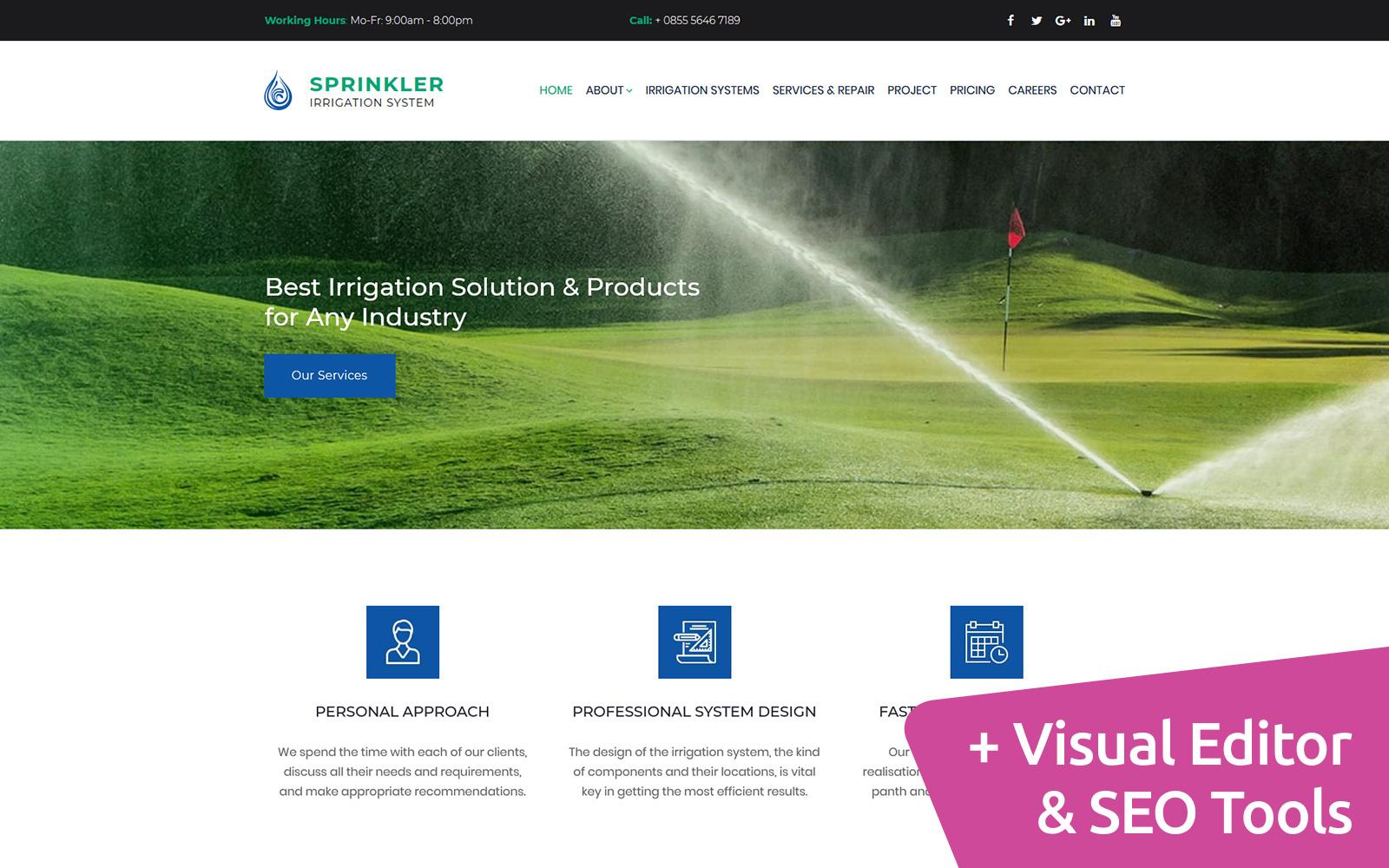Reszponzív Sprinkler - Water System Premium Moto CMS 3 sablon 66412