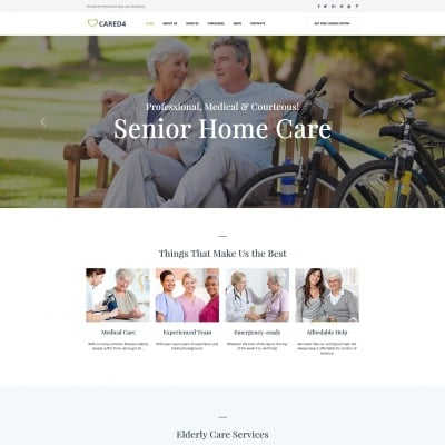 Modèle Moto CMS HTML  pour site de soins aux personnes âgées