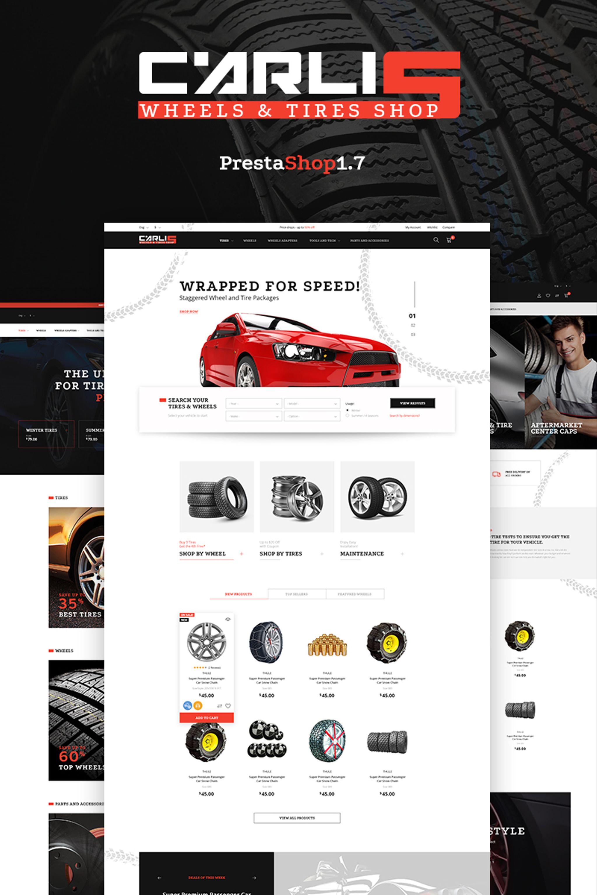 """Tema De PrestaShop """"Carlis - Wheels & Tires Shop"""" #66467"""