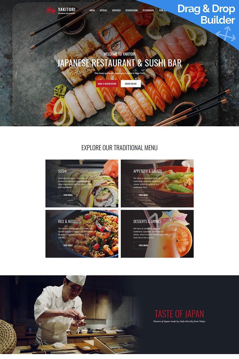 """Tema Moto CMS 3 Responsive #66414 """"Japanese & Sushi Restaurant"""""""