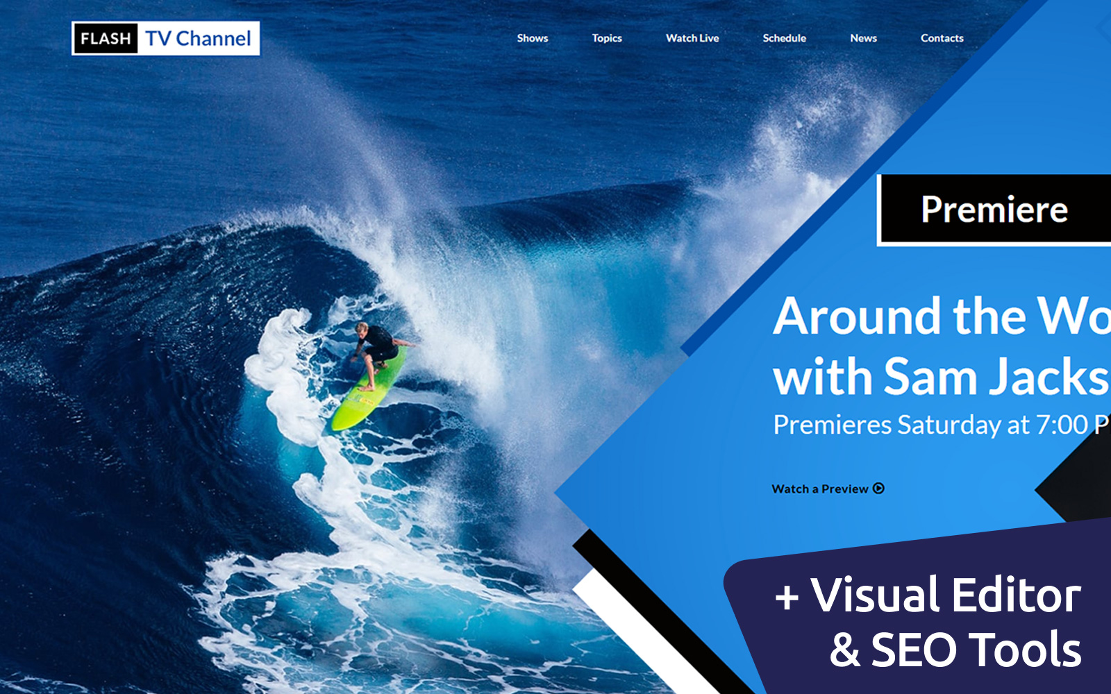 "Template Moto CMS 3 Responsive #66415 ""TV Channel Premium"""