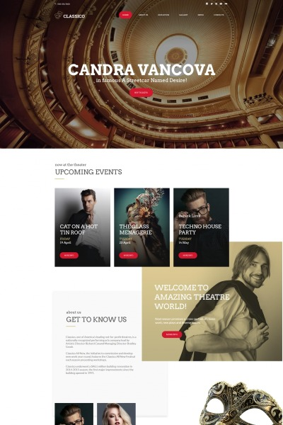 "Template Moto CMS HTML #66427 ""Classico - Theater"" #66427"