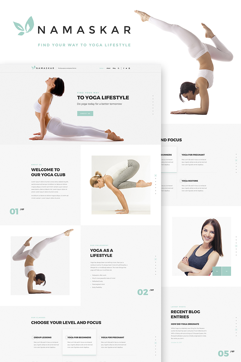 "Template WordPress Responsive #66469 ""Namaskar - Yoga"""