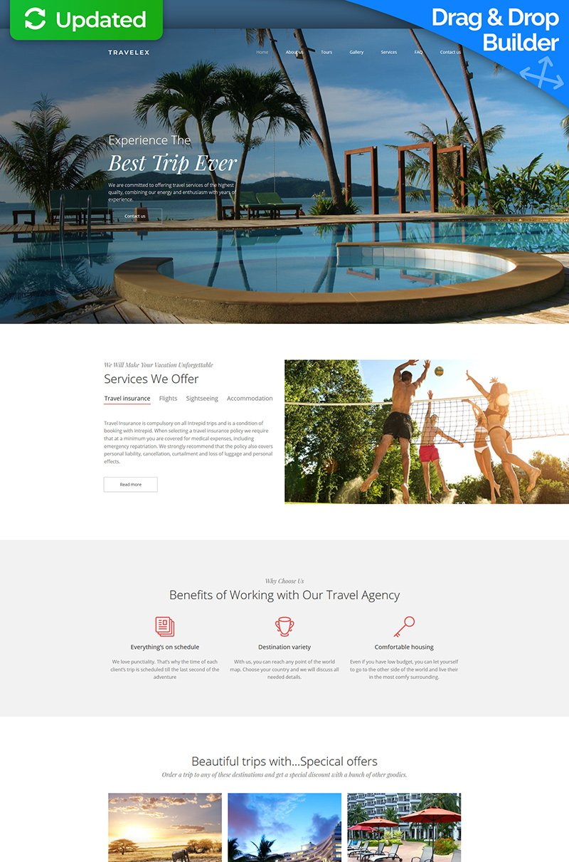 """Travel Agency Premium"" Responsive Moto CMS 3 Template №66405"