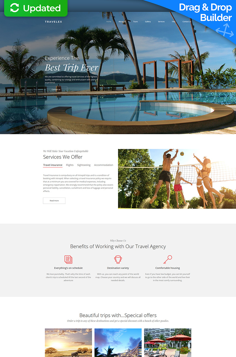 Travel Agency Premium Templates Moto CMS 3 №66405