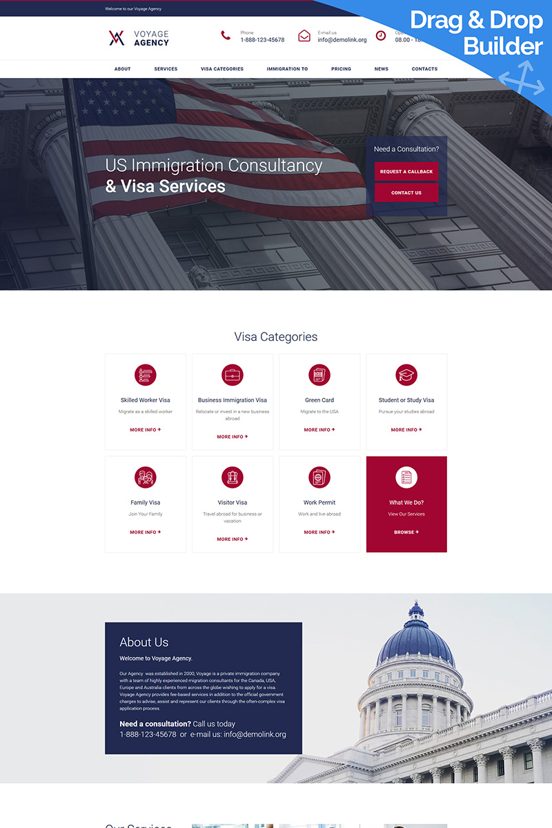 """""""Voyage Agency - Immigration Consulting"""" modèle Moto CMS 3 adaptatif #66409"""