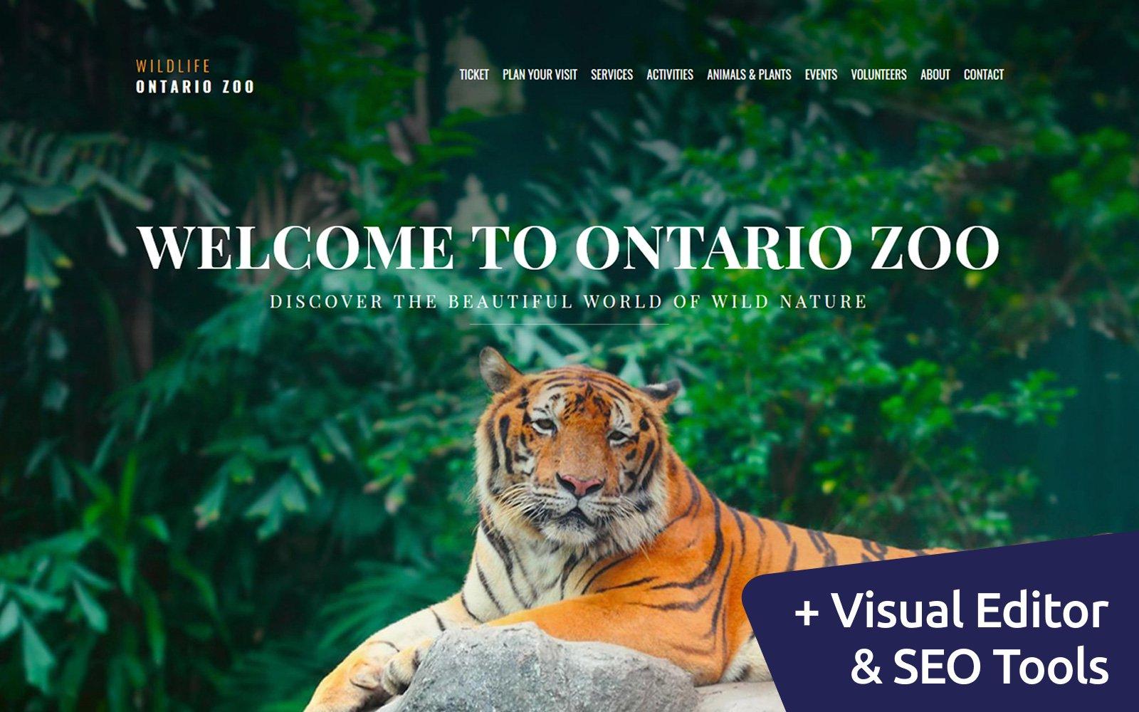 """Wild Life - Zoo Premium"" modèle Moto CMS 3 adaptatif #66407"
