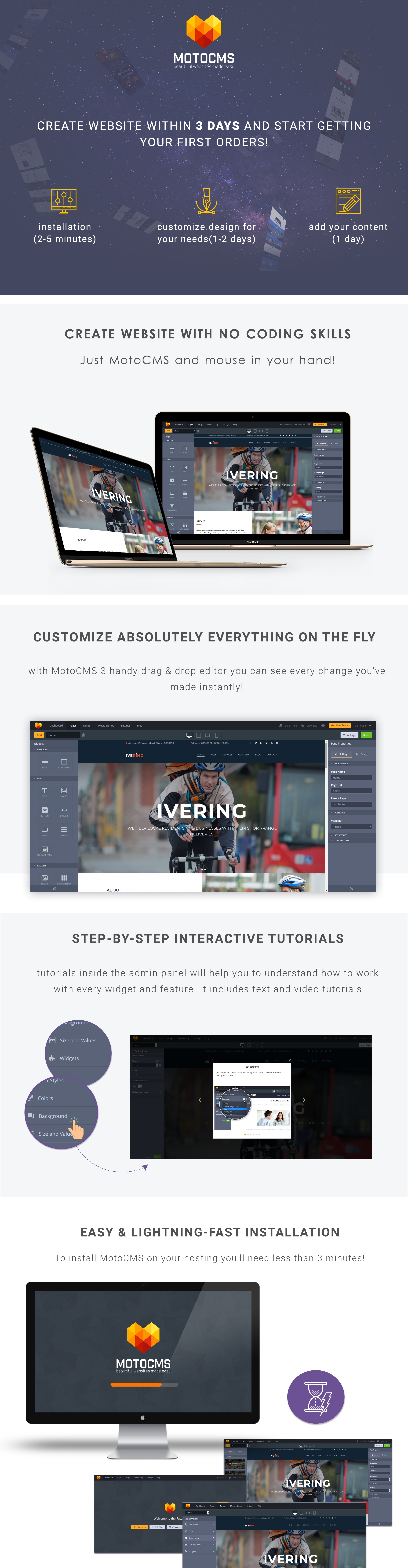 Ivering - Bike Courier & Package Delivery Moto CMS 3 Template