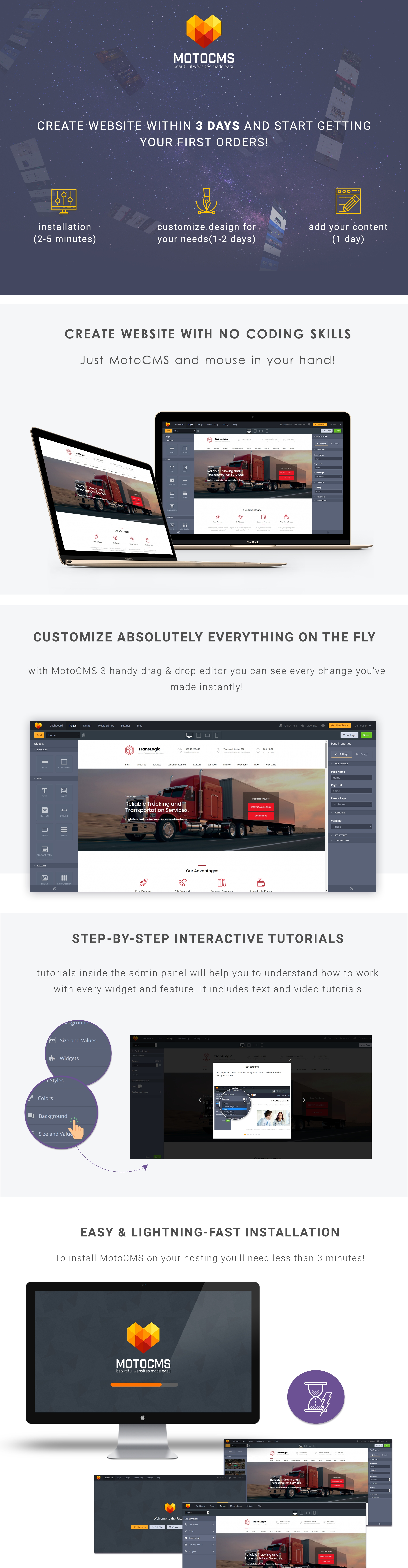Transportation and Logistics Company Moto CMS 3 Template