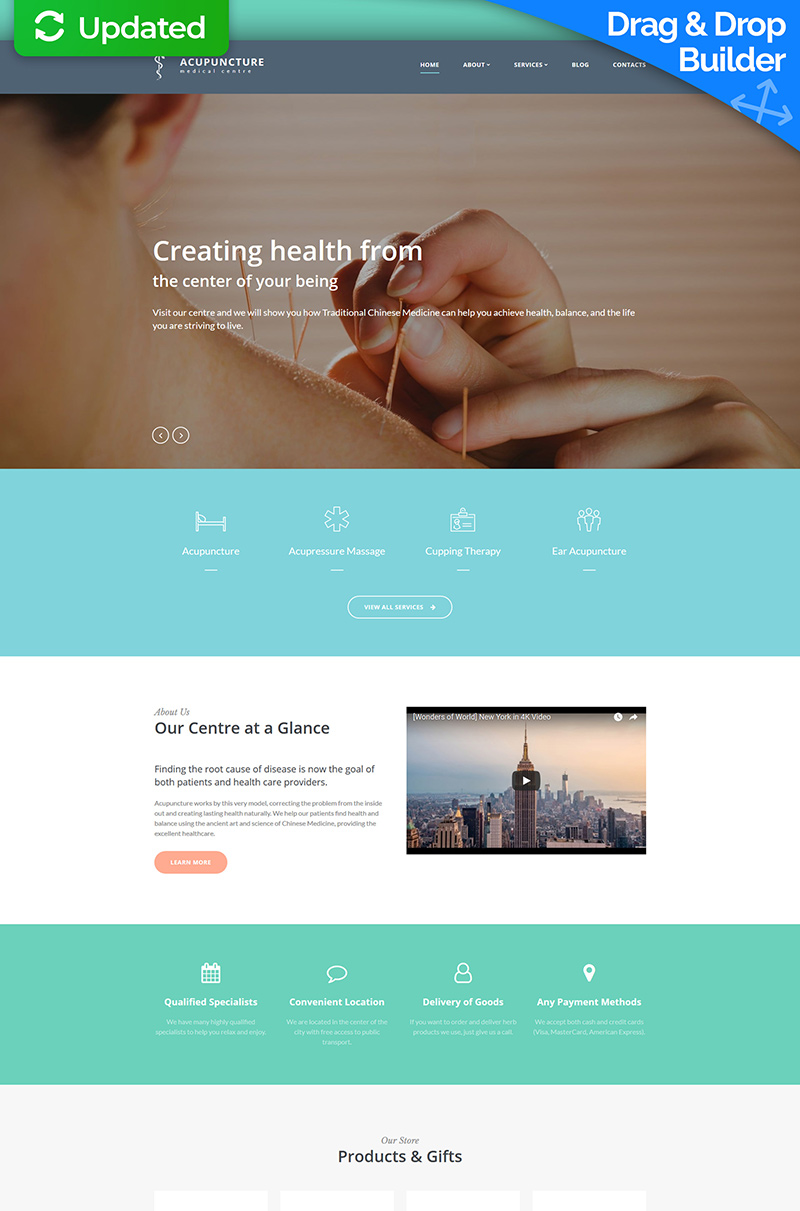 """Acupuncture - Medical Center"" Responsive Moto CMS 3 Template №66529"
