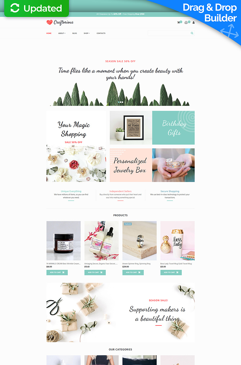 Craftorious - Handmade Gift Shop Template Ecommerce MotoCMS №66569