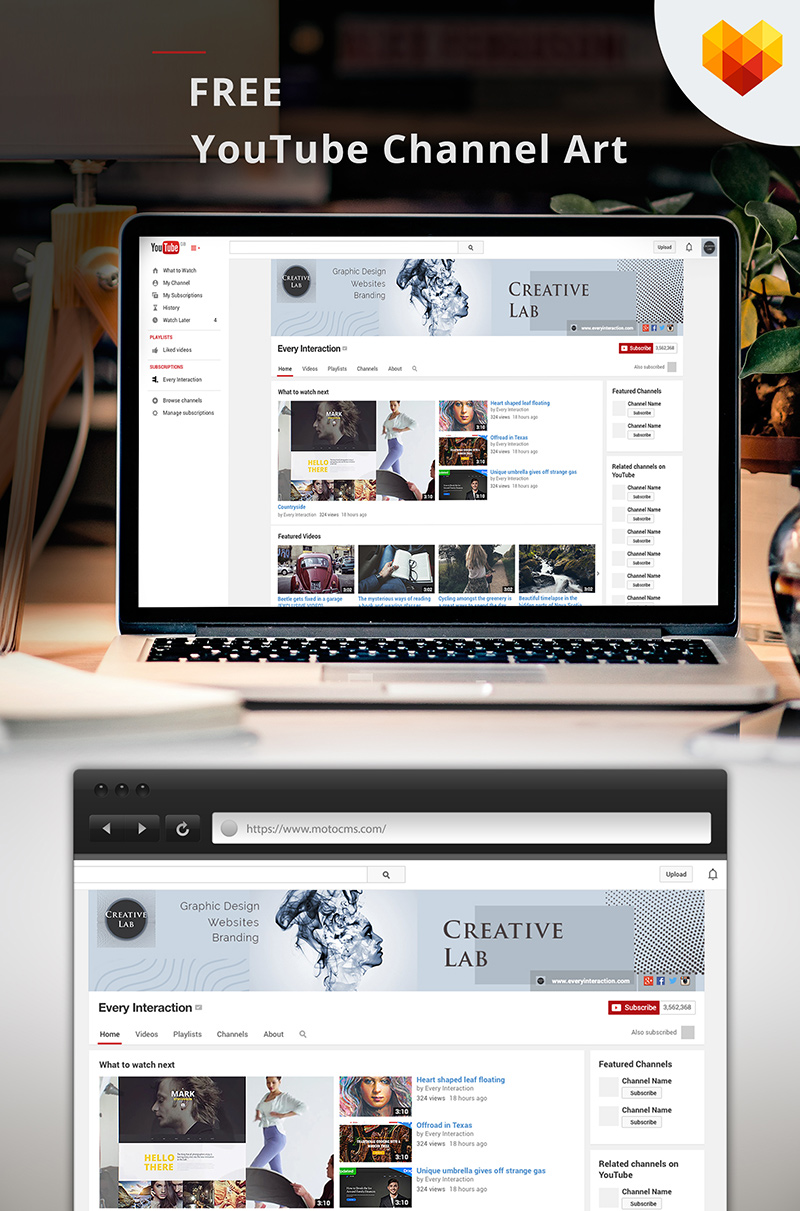 """Creative Lab YouTube Channel Art"" - Шаблон для соцмереж №66588"