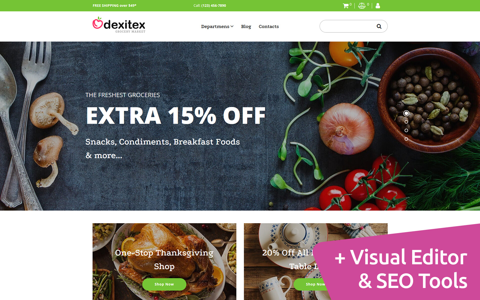 """""""Dexitex - Grocery Store"""" Responsive MotoCMS Ecommercie Template №66566"""