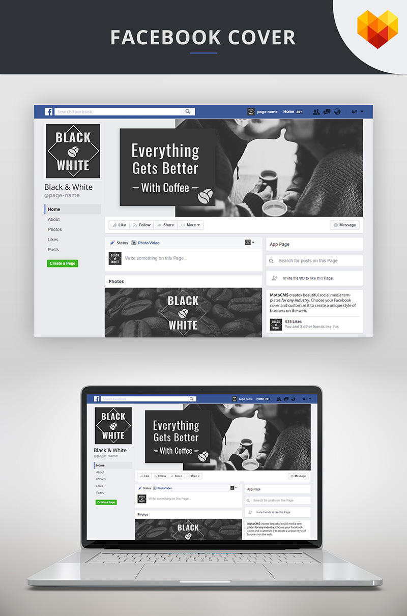 Facebook Cover Template For Coffee Social Media