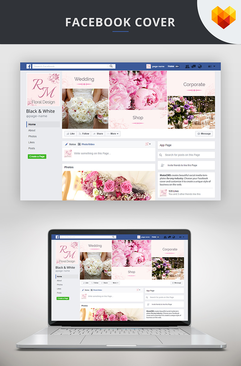 Flower Decoration Facebook Cover Template Social Media
