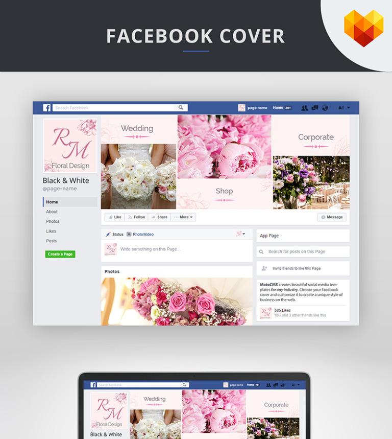 Flower Decoration Facebook Cover Template Social Media #66596