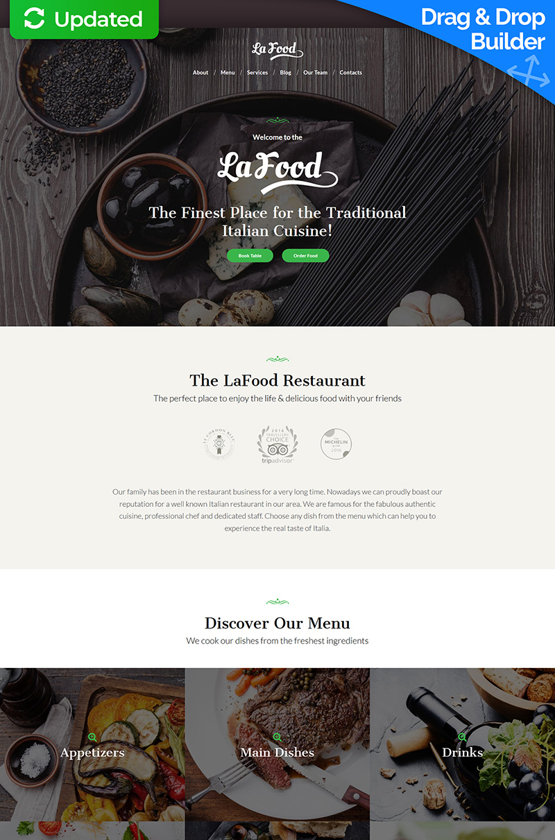 """La Food - Italian Restaurant"" modèle Moto CMS 3 adaptatif #66522"