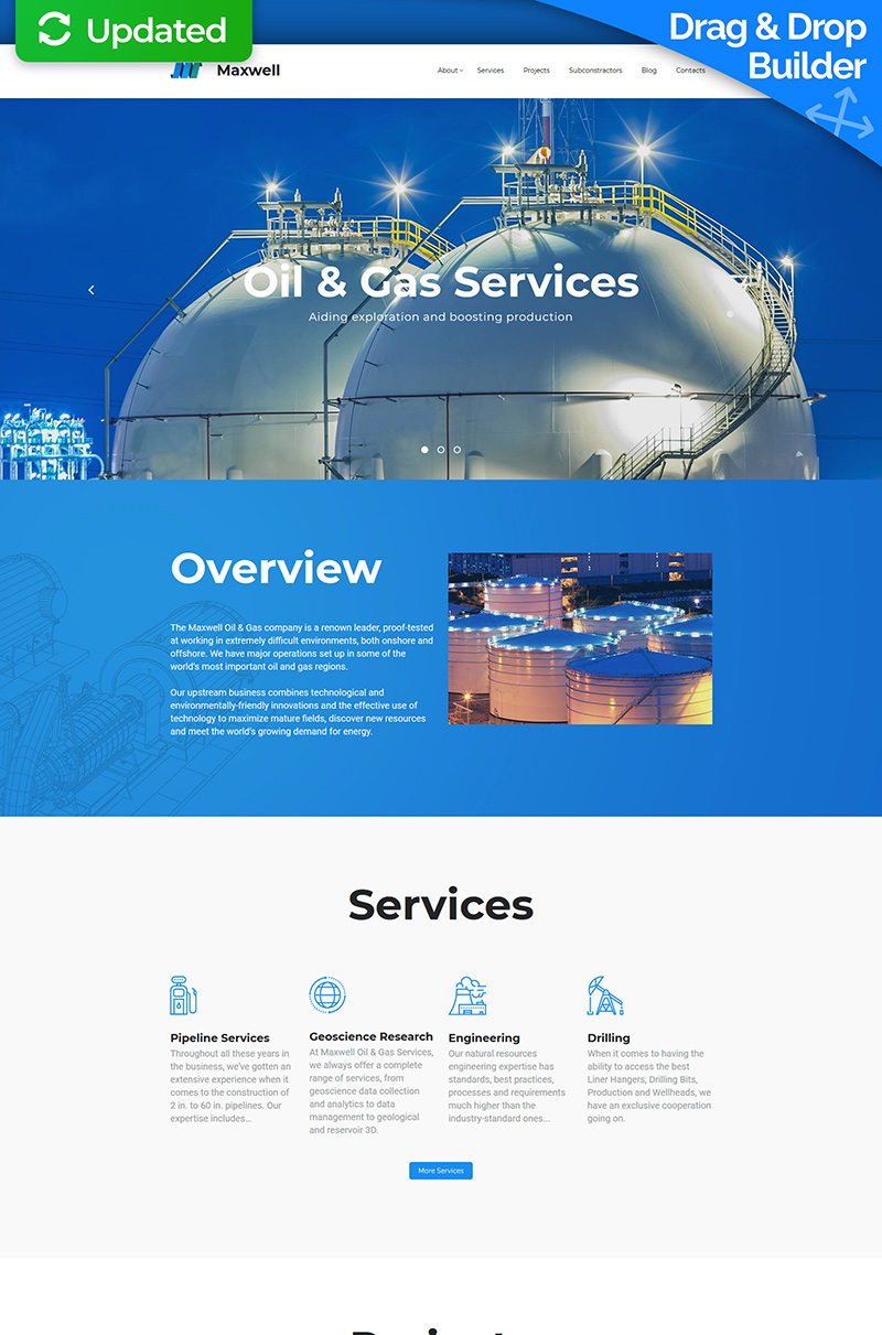Maxwell - Oil & Gas Company Moto CMS 3 Template