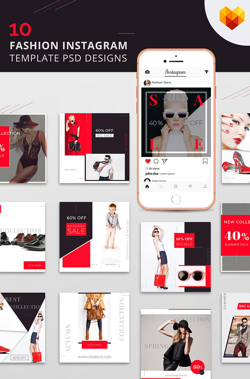 "Medios Sociales ""10 Fashion Instagram Template PSD Designs"" #66589"