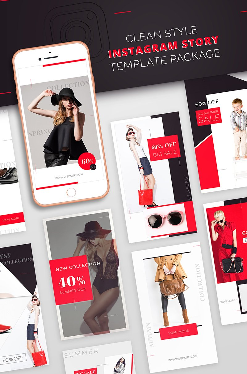 "Medios Sociales ""Instagram Story Template Package For Fashion Business"" #66587 - captura de pantalla"
