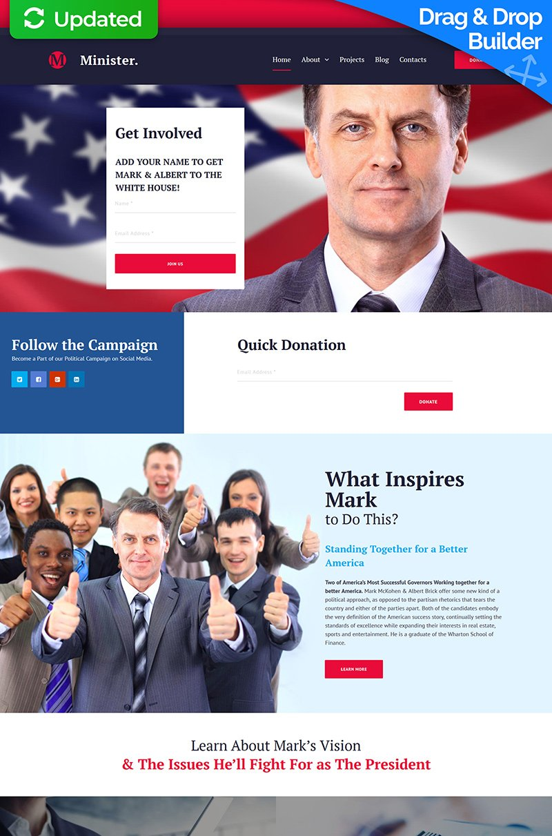 Minister - Political Candidate Moto CMS 3 Template