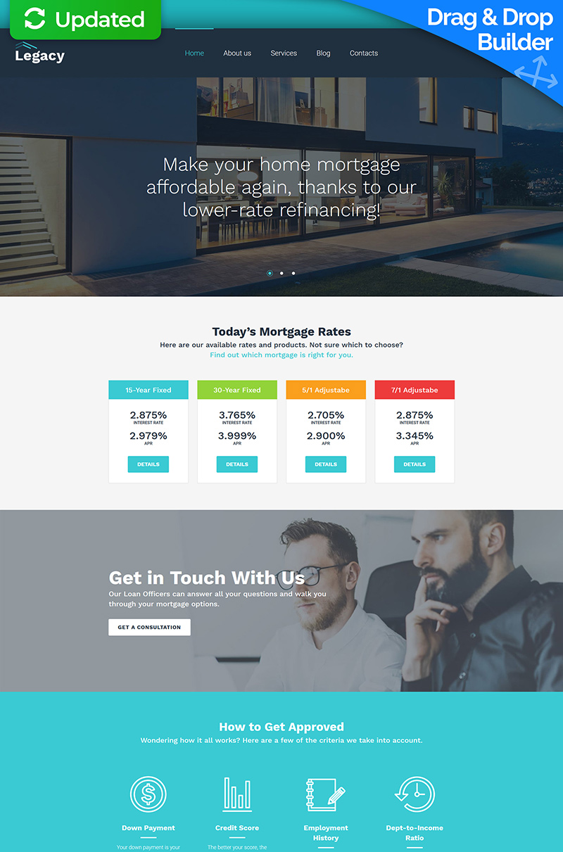 "Moto CMS 3 Template namens ""Estate and Mortgage"" #66549"