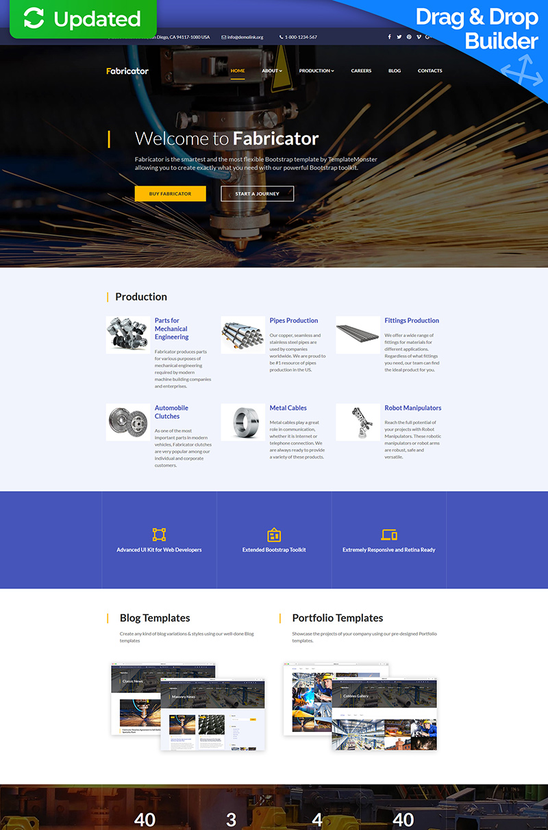 "Moto CMS 3 Template namens ""Fabricator - Industrial"" #66531"