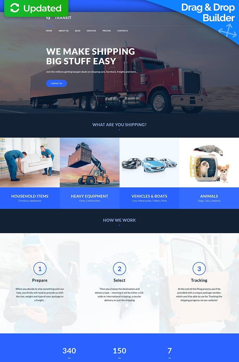 "Moto CMS 3 Template namens ""Logistics and Transportation Service"" #66544 - Screenshot"
