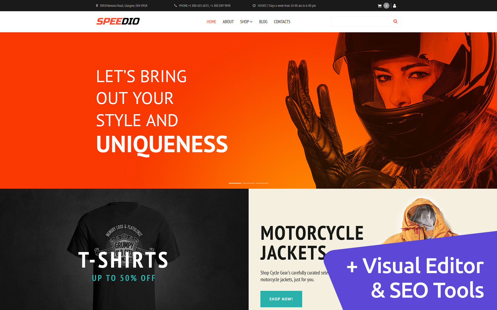 "MotoCMS E-Commerce Vorlage namens ""Speedio - Cars & Motorcycles Equipment Store"" #66558"