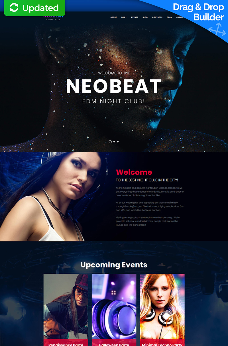 """Night Club & Entertainment"" Responsive Moto CMS 3 Template №66514"