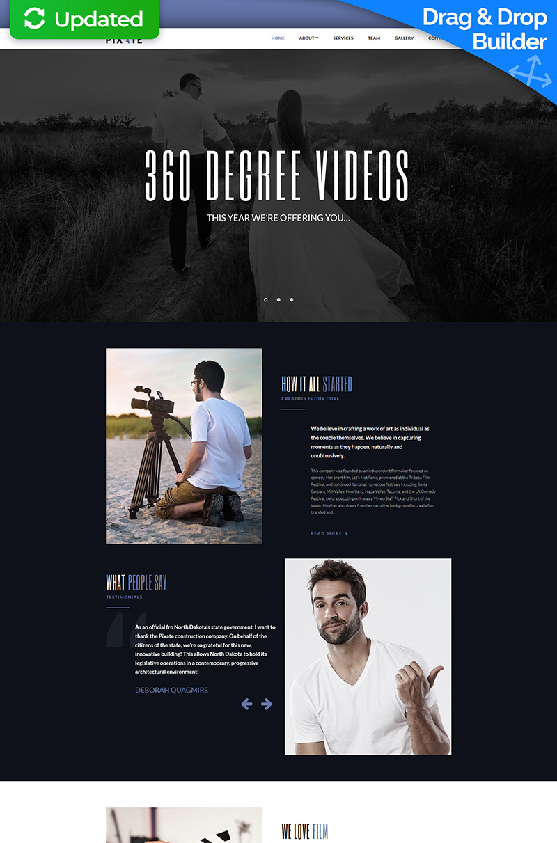 Pixate - Movie Studio Moto CMS 3 Template - screenshot