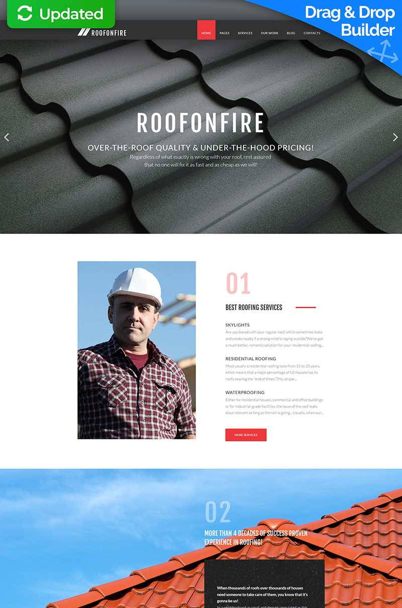 "Plantilla Moto CMS 3 ""RoofOnFire - Roofing Company"" #66510"