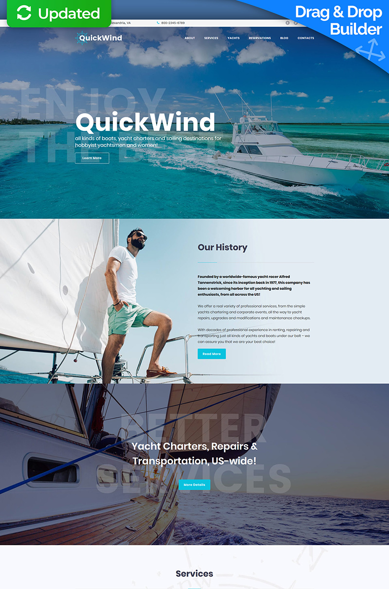 QuickWind - Yachting & Voyage Charter Moto CMS 3 Template