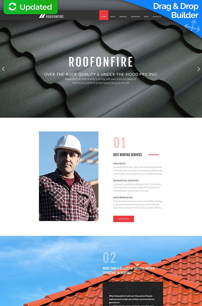 """Responzivní Moto CMS 3 šablona """"RoofOnFire - Roofing Company"""" #66510"""