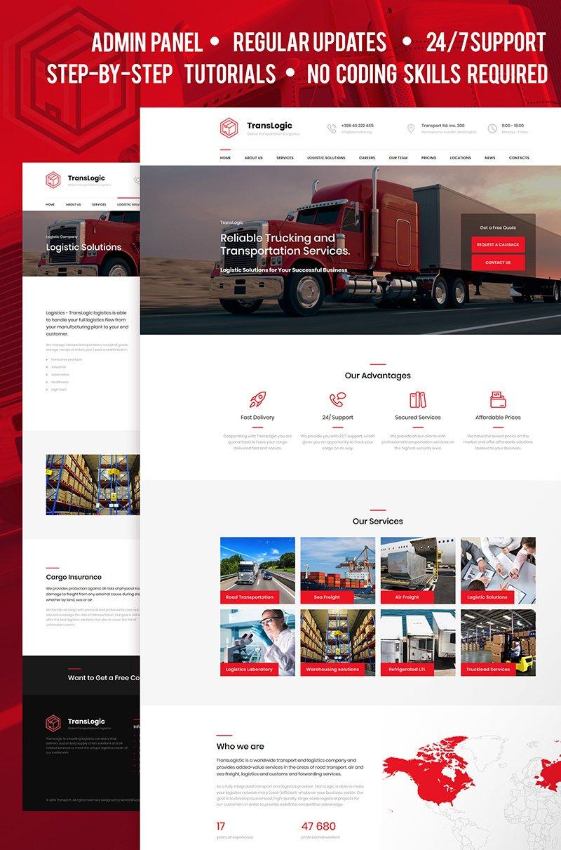 """Responzivní Moto CMS 3 šablona """"Transportation and Logistics Company"""" #66533"""