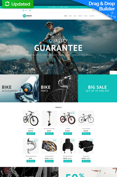Bike Shop Responsive MotoCMS Ecommerce šablona