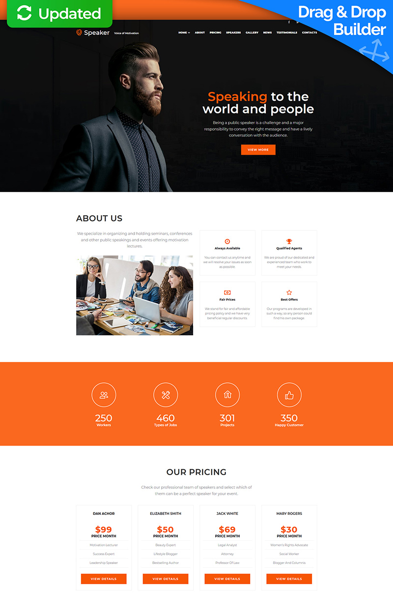 Speaker - Life Coach Responsive Moto CMS 3 Template - screenshot
