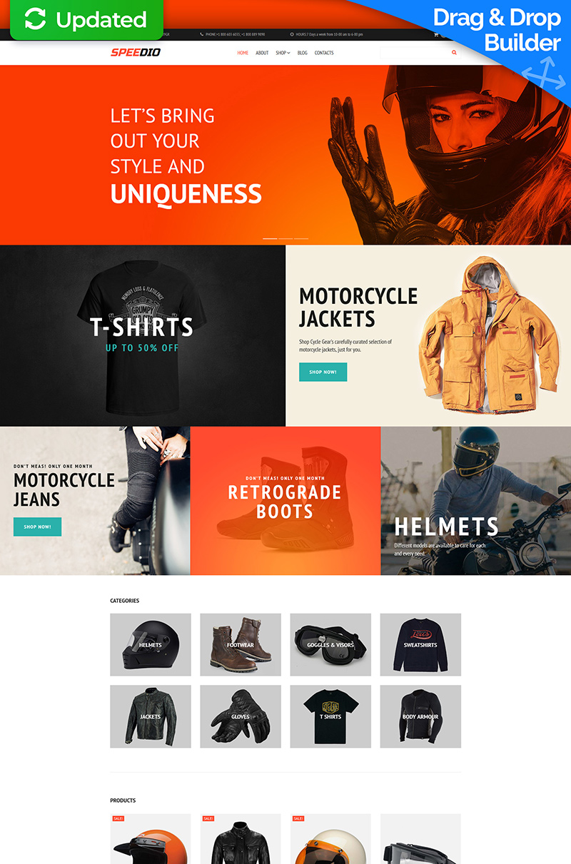 """Speedio - Cars & Motorcycles Equipment Store"" modèle MotoCMS pour commerce électronique adaptatif #66558"