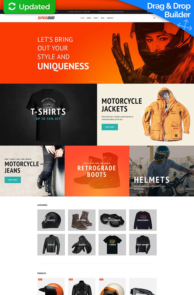 "Tema MotoCMS E-commerce Responsive #66558 ""Speedio - Cars & Motorcycles Equipment Store"""