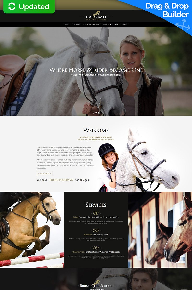 "Template Moto CMS 3 Responsive #66502 ""Horserati - Horse Club"""
