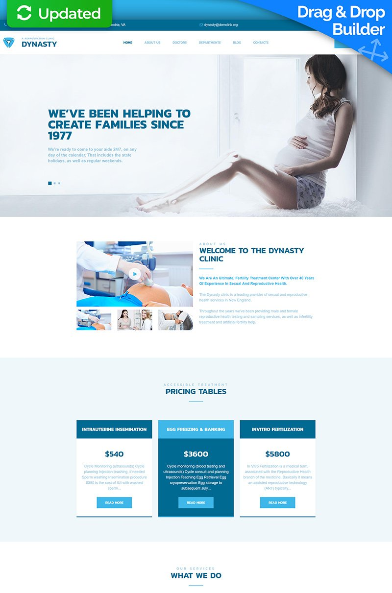 """Template Moto CMS 3 Responsive #66508 """"Dynasty - Reproduction Clinic"""" - screenshot"""