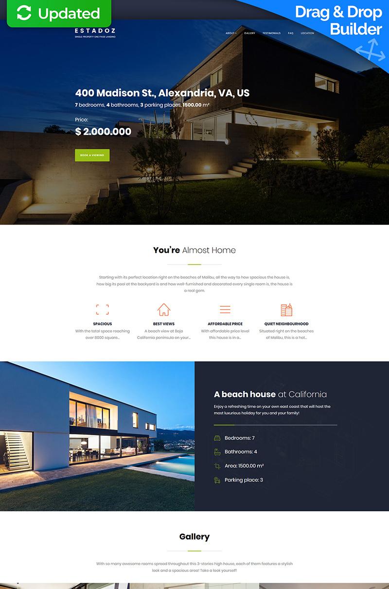 """Template Moto CMS 3 Responsive #66532 """"Estadoz - Real Estate Business"""""""
