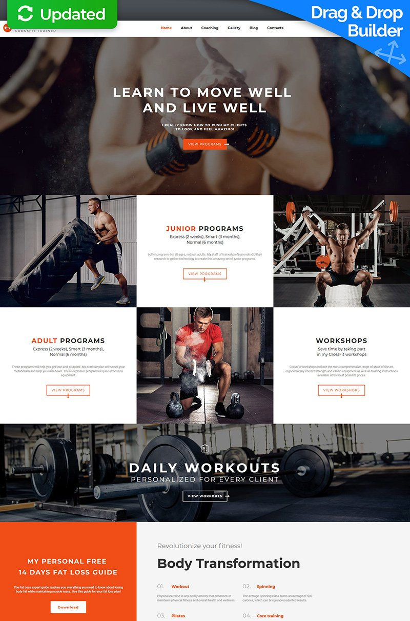 """Template Moto CMS 3 Responsive #66547 """"Edward Newman - Crossfit Trainer"""""""